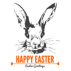 Card with sketch Easter rabbit. Hand drawn illustration