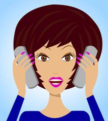 business  woman emotionally speak on two telephone