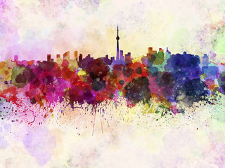 Wall Mural - Toronto skyline in watercolor background