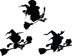 Halloween Witch Cartoon Silhouettes