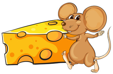 A brown mouse beside the big slice of cheese