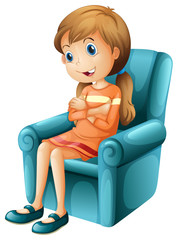 A girl sitting on a chair
