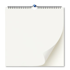 Blank wall calendar/clipping path