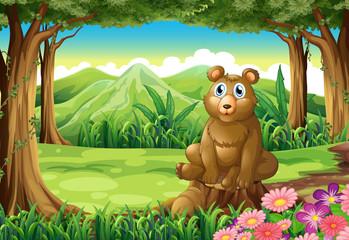 Spoed Fotobehang Beren A big brown bear above the stump