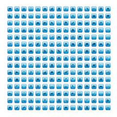 225 VECTOR BUTTONS (blue poster set website internet web icons)