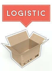 Logistic concept open cardboard box