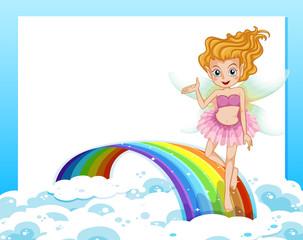 An empty template with a fairy above the rainbow