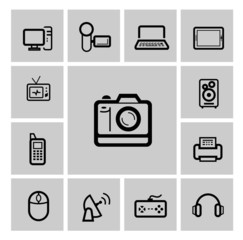 vector black electronic devices icons set