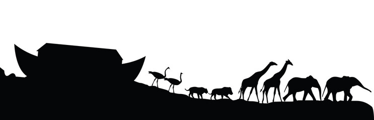 Noeh's ark and animals isolated on white, vector