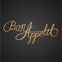 Bon Appetit - Hand drawn quote on blackboard