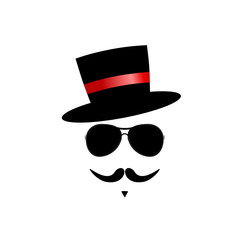 face with mustache color vector