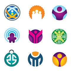 People in circle social community IT developer icon set