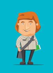 Australian man traveling and holding book vector illustration
