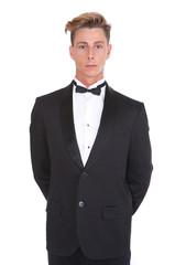 Young man in black tuxedo