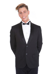 Stylish young man smiling in tuxedo