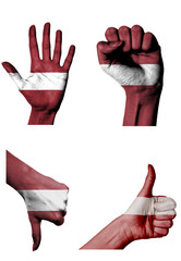 hands with multiple gestures (open palm, closed fist, thumbs up