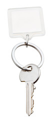 one home key and square keychain on ring