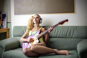 music on the sofa