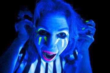 Woman black light scary