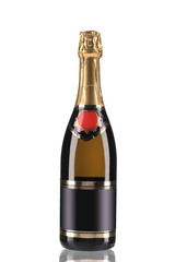 Brown bottle of champagne with golden top.