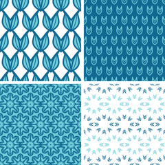vector four abstractblue tulip shapes seamless patterns set in