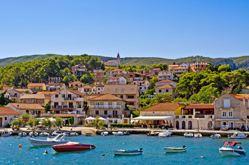 Photo on textile frame City on the water Port of Jelsa town on Hvar island, Croatia