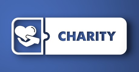 Charity Concept on Blue in Flat Design Style.