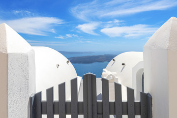 Fototapete - Greece Santorini island in cyclades traditional view of wooden d