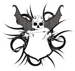 skull bat wings sticker tattoo heraldic shield7