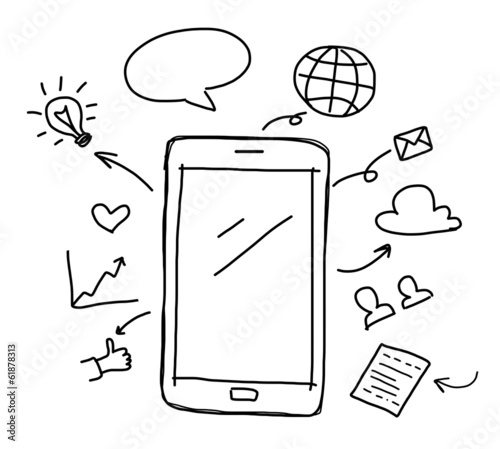 Hand Drawing Smart Phone With Social Media Concept Stock Photo And