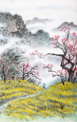 Printed roller blinds Art Studio traditional Chinese painting , landscape