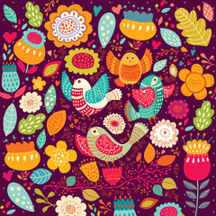 Fototapete - Pattern with beautiful birds and flowers