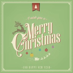 Vintage Christmas Vector Background With Typography