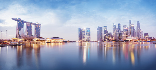 Panoramic image of Singapore`s skyline at night.