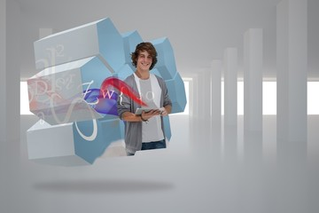 Composite image of student with tablet on abstract screen