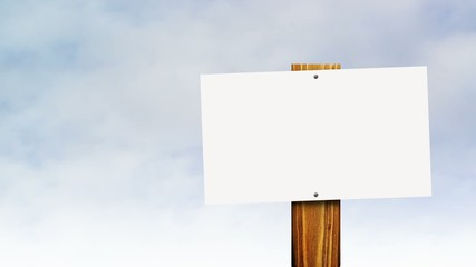 Wall Mural - Blank vintage sign against sky time lapse