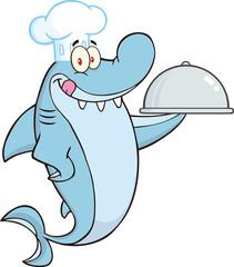 Chef Shark Cartoon Character Holding A Platter