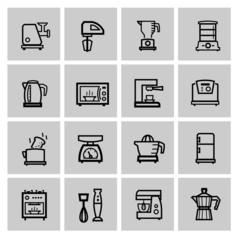 vector black household icon set