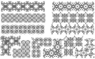 Set of seamless line (borders). Patterns frames.