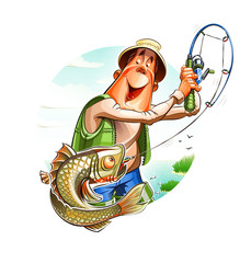 Fisherman and fish. Eps10 vector illustration. Isolated on
