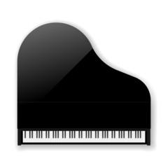 Black Classic Grand Piano. Vector