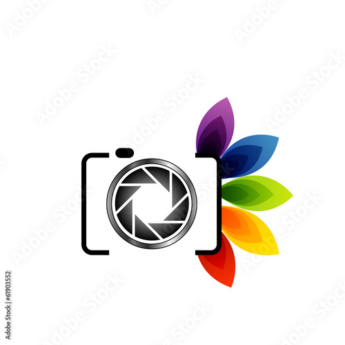 Photography Logo Digital Camera With Colorful Leaves