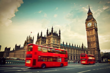 Poster London red bus London, the UK. Red bus in motion and Big Ben