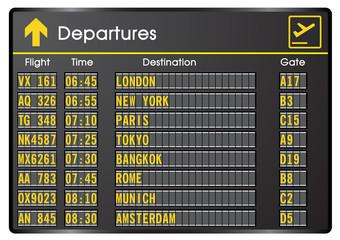 Departure board - destination airports. Vector illustration.