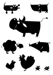 Vector art farm animal silhouettes collection for design