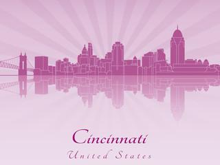 Cincinnati skyline in purple radiant orchid