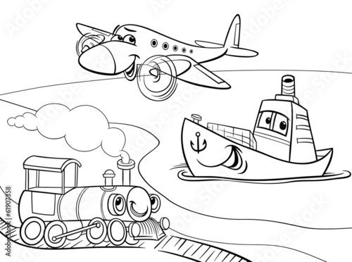 Раскраска поезда и машины