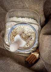 Oatmeal cereals in a glass jar