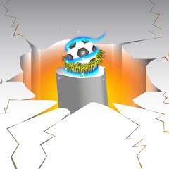 3d soccer ball lava