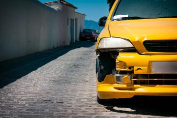 Yellow Car Damage
